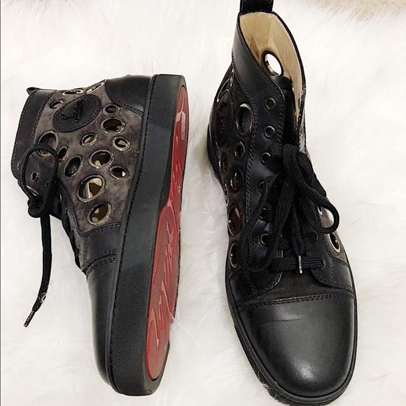 online retailer f6193 be175 louboutin men 42 sneakers hole black suede